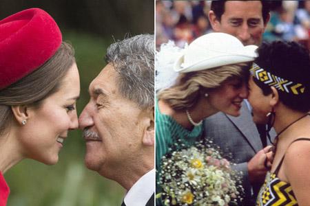俗,1983年戴安娜王妃与今天的凯特王妃都与当地毛利人行碰鼻礼,