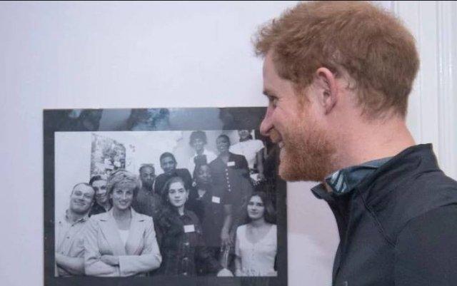 图为哈里王子凝视母亲戴安娜王妃的一张黑白照片.黑白照为戴安娜王